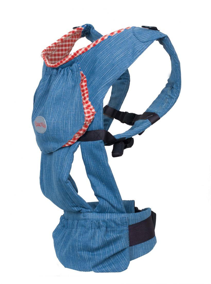 Слинг-рюкзак Чудо-Чадо «Бебимобиль Хип», джинсовый с красным