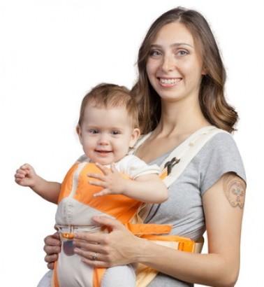 Рюкзак-кенгуру «BabyActive Lux» бежево-оранжевый