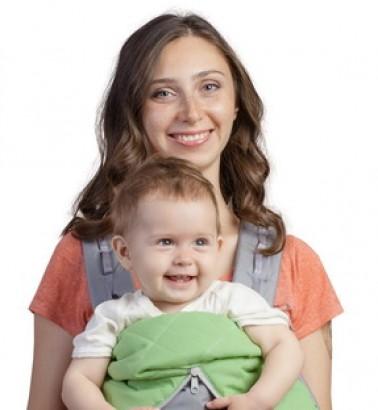Рюкзак-кенгуру «BabyActive Lux» серо-зеленый
