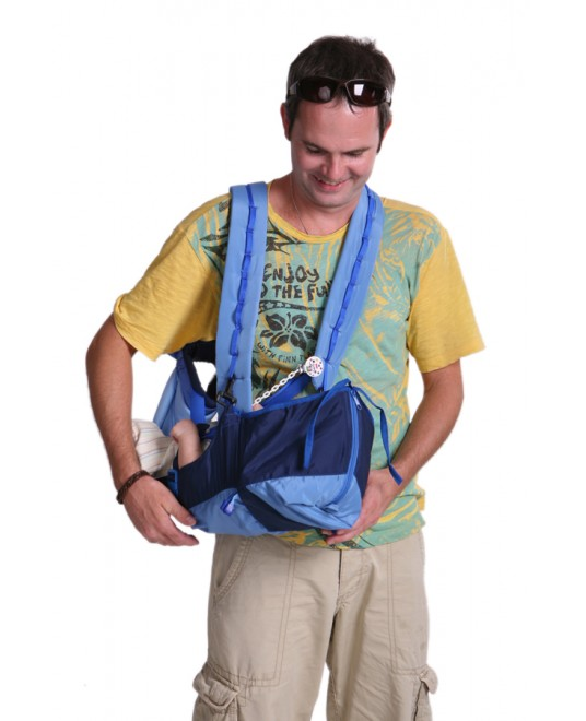 Рюкзак-кенгуру «BabyActive Lux» синий/голубой