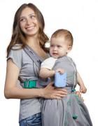 Рюкзак-кенгуру «BabyActive Lux» серый/изумрудный