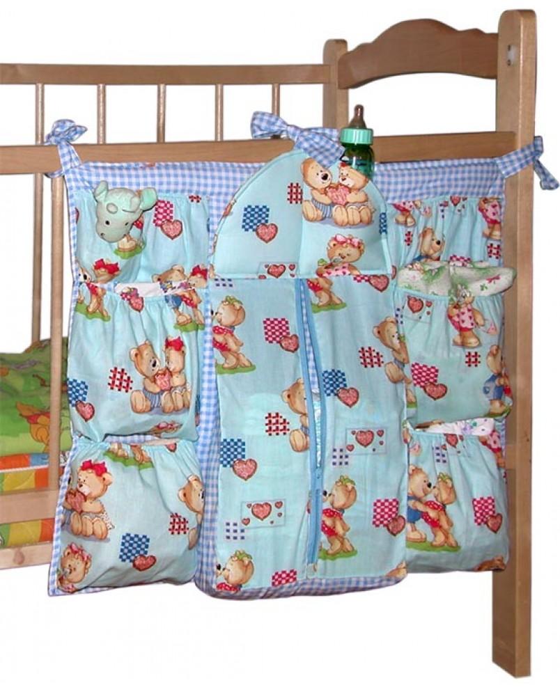 """Карманы на кроватку """"Мишутка"""" голубой"""