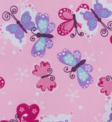 Конверт меховой «Комфорт» розовый/бабочки