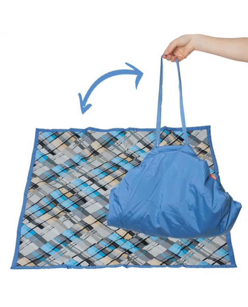 Коврик-сумка Чудо-Чадо - голубой/клетка