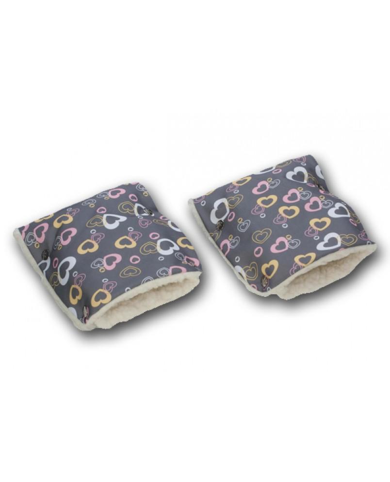 Муфты-рукавички на коляску сердечки