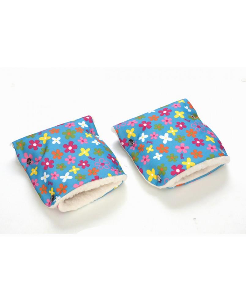 Муфты-рукавички на коляску цветочки