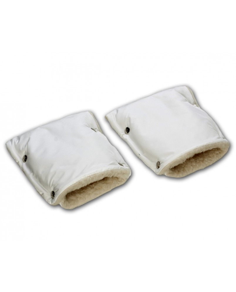 Муфты-рукавички на коляску белые