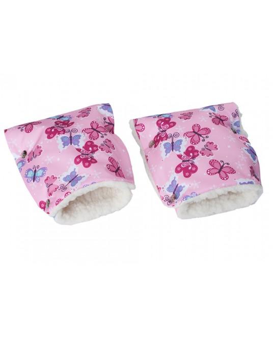 Муфты-рукавички на коляску розовый/бабочки