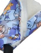 Муфты-рукавички на коляску голубой/сафари
