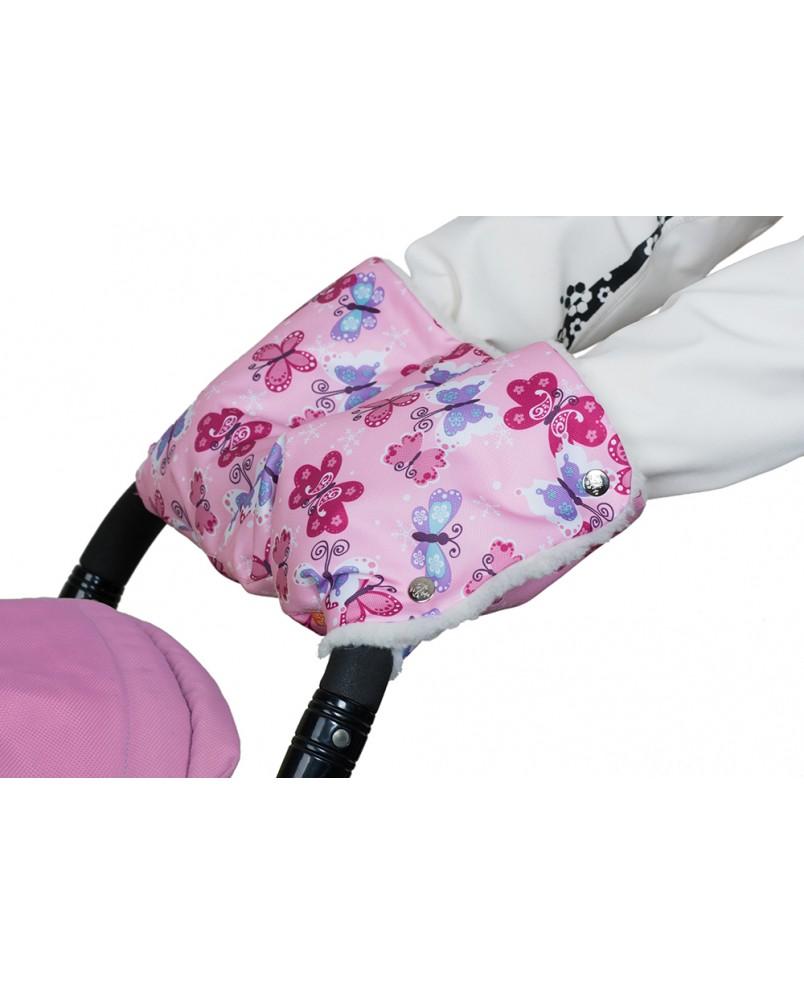 Муфта меховая - розовая/бабочки