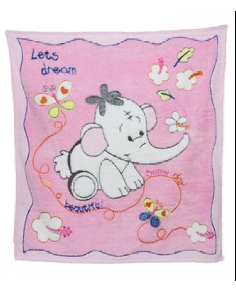 Детский плед слоненок/розовый