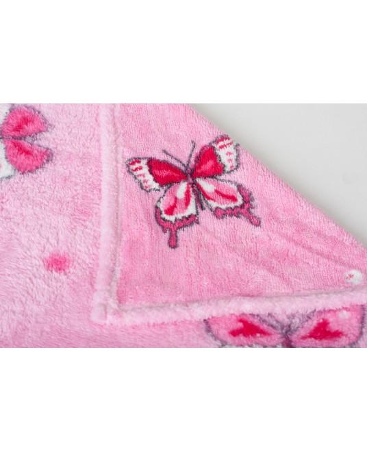 Детский плед бабочки/розовый