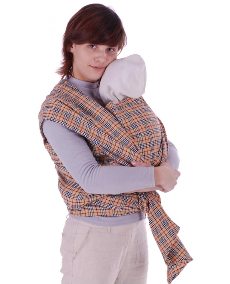 Слинг-шарф «Уют» бежевая клетка