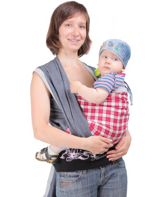 Слинг-шарф «Джинсовый» с красной вставкой