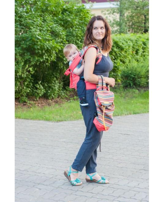 Сумка-рюкзак для мамы «Уичоли» коралловый