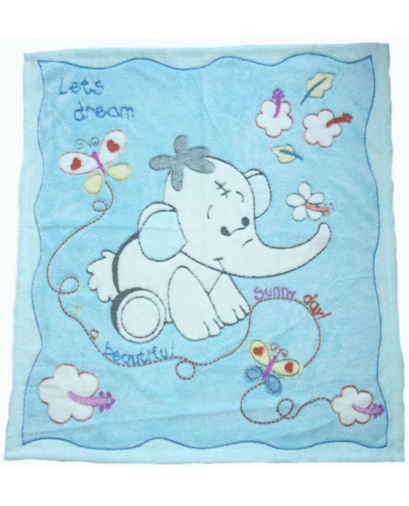 Детский плед слоненок/голубой