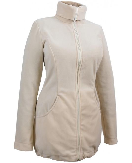 Слингокуртка и куртка для беременных флисовая «Мама Плюс» - бежевая