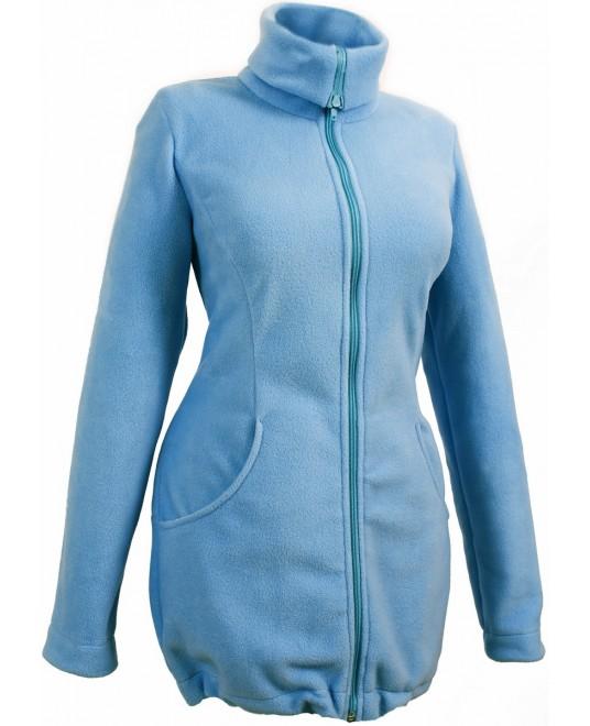 Слингокуртка и куртка для беременных флисовая «Мама Плюс» - голубая
