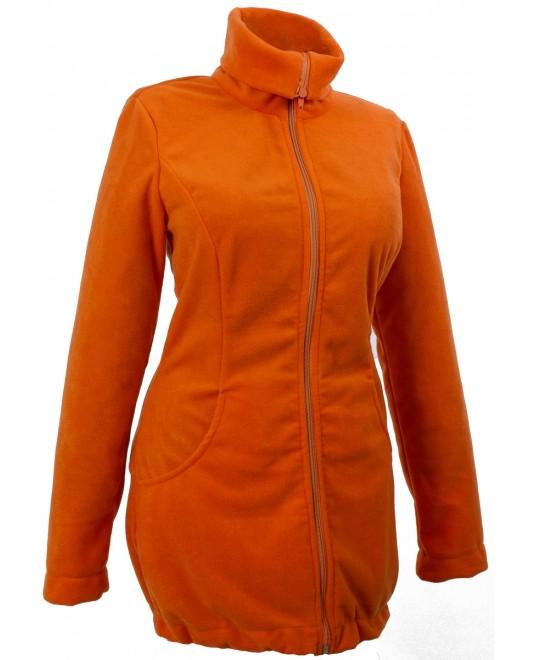 Слингокуртка и куртка для беременных флисовая «Мама Плюс» - оранжевая